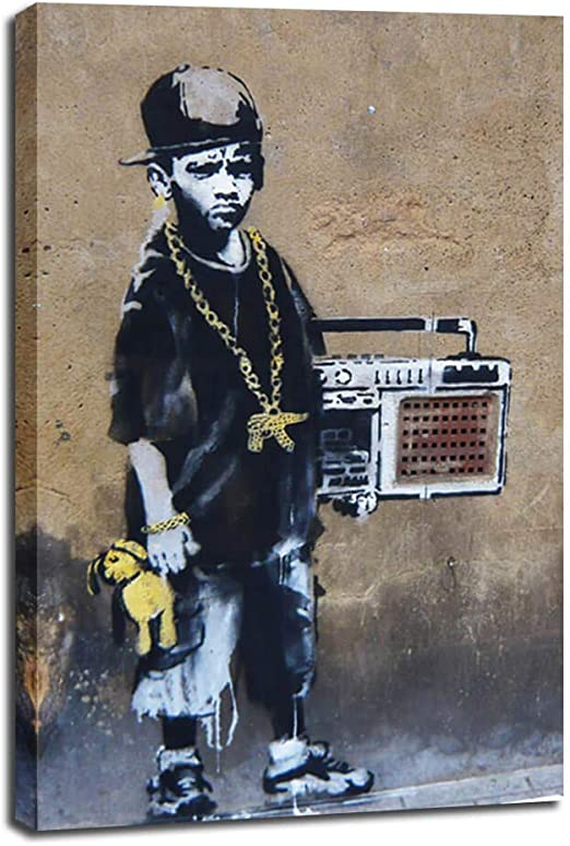 "BANKSY CLOWN WITH GUNS Urban Art 24/""x24/"" Canvas"