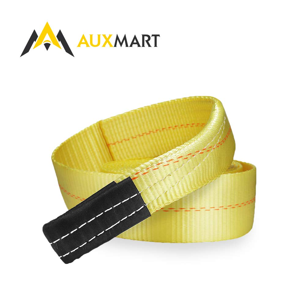 AUXMART Towing Strap 3'' 20 FT Heavy Duty Tow Strap 30000LBS Capacity Heavy Duty Vehicle Towing Winch Snatch Strap
