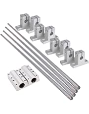 BQLZR 8mm Dia Silver Linear Motion Ball Bearing Linear Shaft Rail Guide Support 500mm Shaft Optical Axis Set