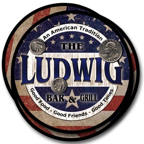 Ludwig Family Bar and Grill Rubber Drink Coaster Set - Patriotic Design