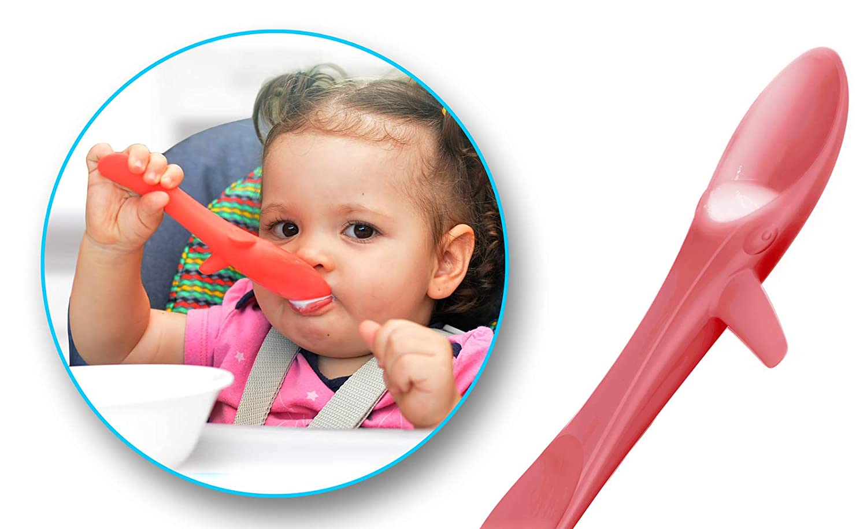 INVENTO Kleckerfreier Baby Lernl/öffel ideal f/ür BLW als Zweierset weicher Kinderl/öffel f/ür das sichere selber Essen von z.B aus lebensmittelechten Silikon Suppen und Brei