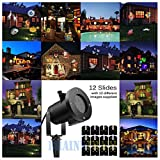 12Pattern Outdoor LED Moving Laser Projector Light Landscape Garden Xmas Lamp