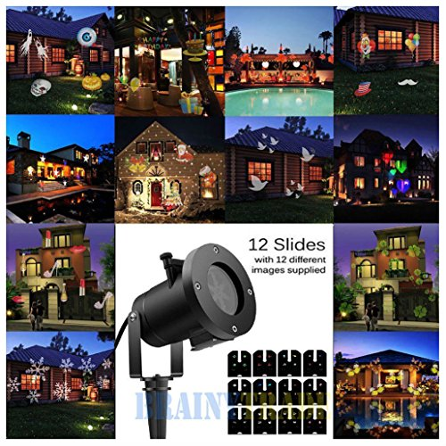12Pattern Outdoor LED Moving Laser Projector Light Landscape Garden Xmas Lamp by Unknown