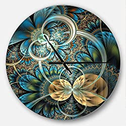 Designart Symmetrical Blue Gold Fractal Flower' Oversized Modern Metal Clock, Circle Wall Decoration Art, 23x23 Inches