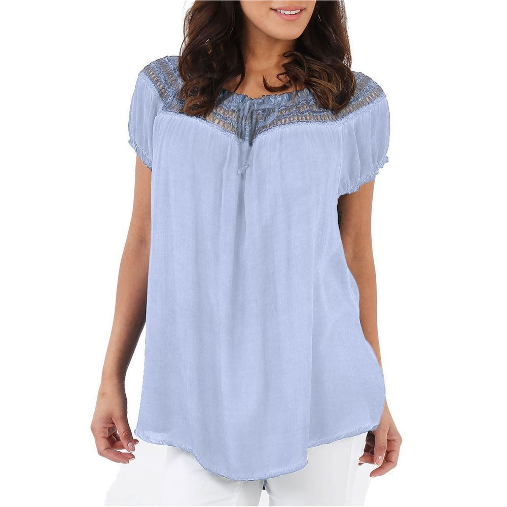 Libermall Women's Casual Summer Short Sleeve T-Shirt Boho Ruffled Hollow Chiffon Loose Tunic Shirt Blouse Tops Blue