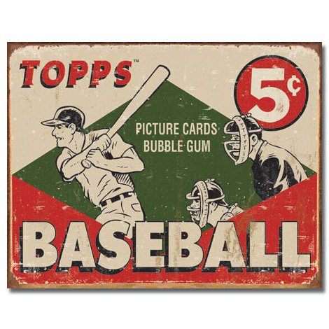 TOPPS - 1955 Baseball Box Tin Sign , 16x12