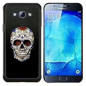 LECELL--Funda protectora / Cubierta / Piel For Samsung Galaxy A8 A8000 -- Cráneo Cruz Christian Death Bling motorista --