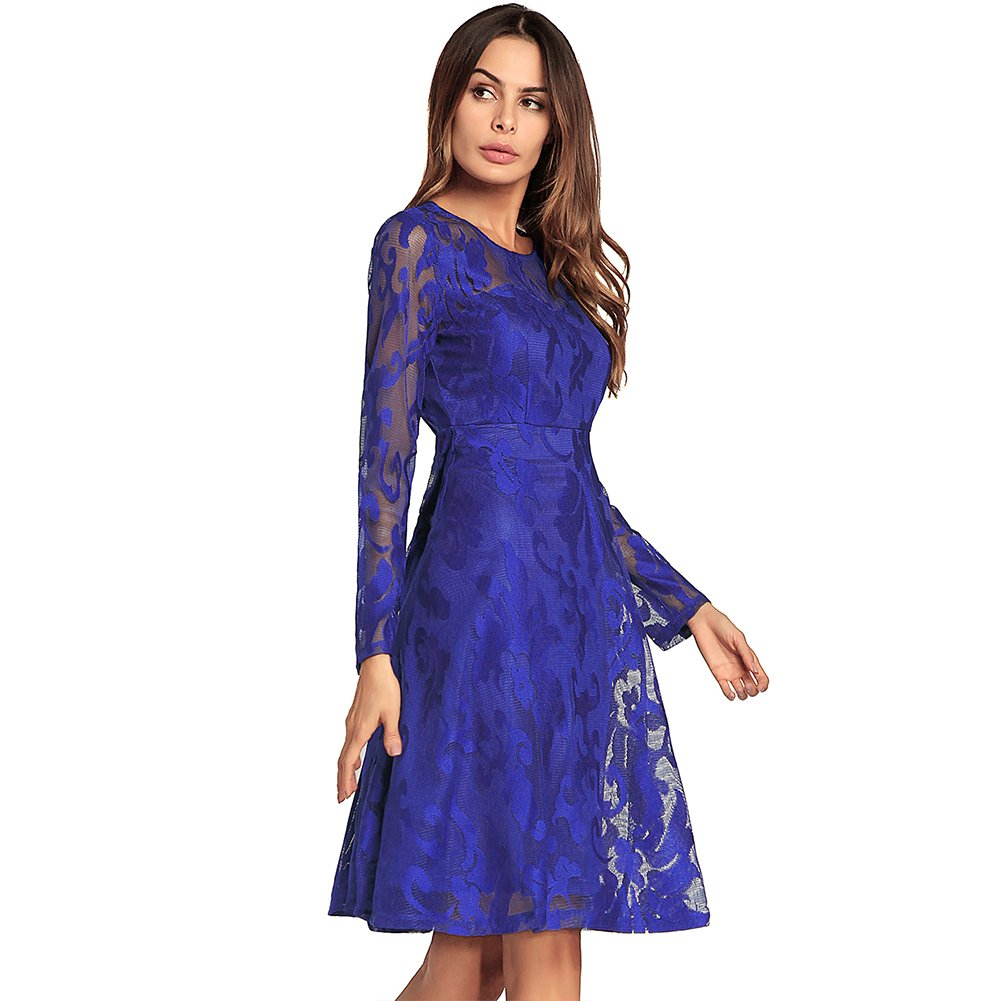bluee DEELI KAKA Women's Dress Long Sleeve Lace A Line Dresses