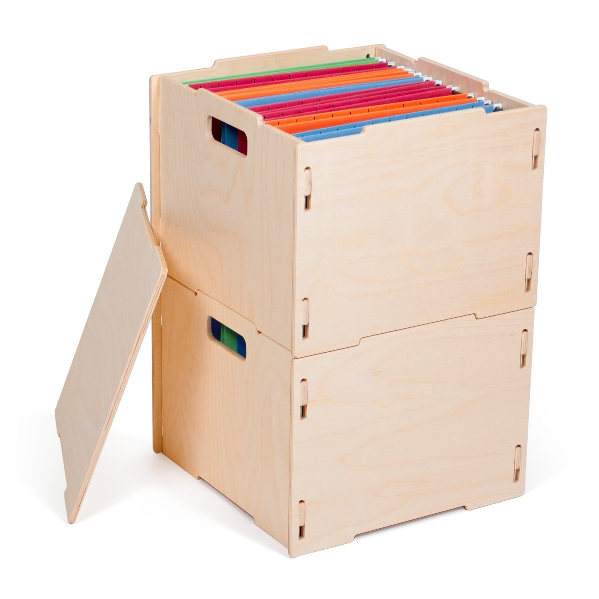 Stacking Crates File Storage (Two Crates, One Lid) CR_FILE2-RAW B01N6T6D45 File Storage (Two Crates, One Lid)|Raw Baltic Birch Raw Baltic Birch File Storage (Two Crates, One Lid)