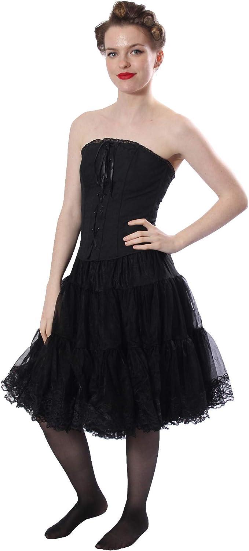 Malco Modes Zooey Luxury Chiffon Adult Petticoat Slip, Lace Trim, Adjustable Black