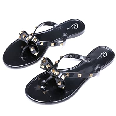 0d6223e98281 Qilunn Womens Bow Flip Flop Sandals