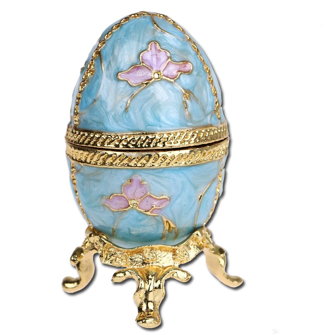 YUFENG Faberge Style Egg Shaped Trinket Box Hinged Jewelry Ring Holder Collectible Figurine Boxes w/ Crystals