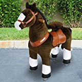 PonyCycle Official Riding Horse Toy Chocolate Brown with White Hoof Giddy up Pony Plush Toy Walking Animal for Age 3-5 Years Small Size - N3152