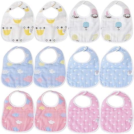 12 pcs baberos de bebé para niños y niñas Baberos impermeables de algodón ajuste bebé baberos de bebé Impermeable: Amazon.es: Bebé