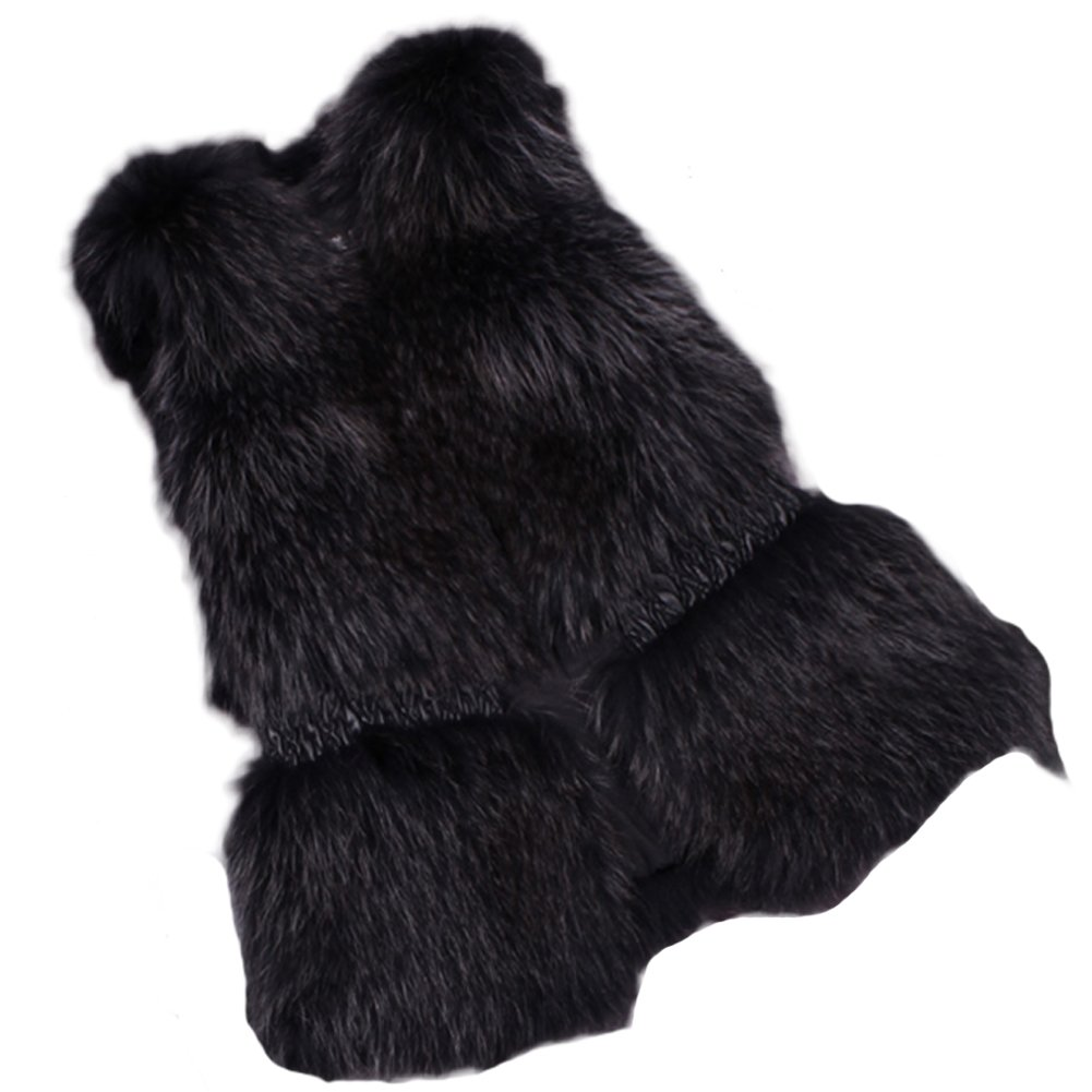 Queenshiny New style Women's 100% Real Raccoon Fur Vest Sheep Leather Waist-Black-M(8-10)