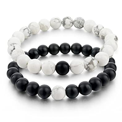 Amazon.com: Distance Bracelets For Lovers-2pcs Black Matte Agate ...