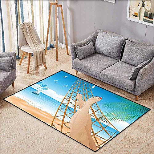 Outdoor Patio Rug,Tropical,Legs of The Sexy Lady Laying in The Hammock Toward The Ocean in Hawaiian Tropical,Large Area mat,3'3
