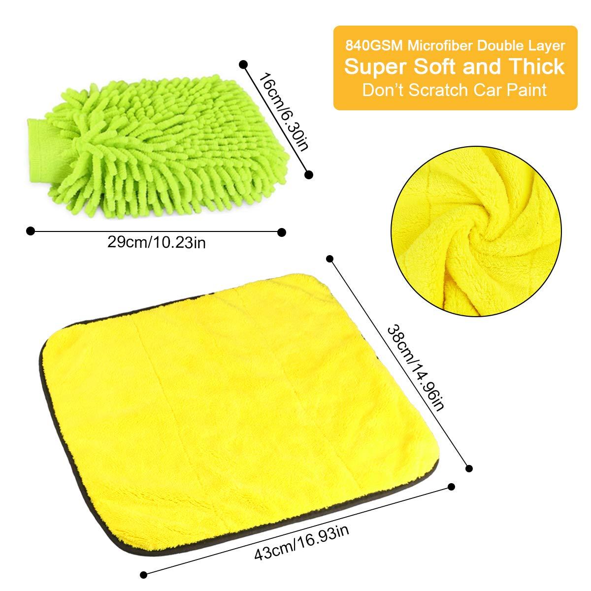 Fixget 840GSM de Limpieza de Coches, 3pcs Microfibra paños de ...