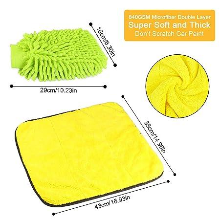 Fixget 840GSM de Limpieza de Coches, 3pcs Microfibra paños de Limpieza Microfibra Super Absorbente Doble Capa Auto Toalla paño Coche Pulido y Secado paño + ...