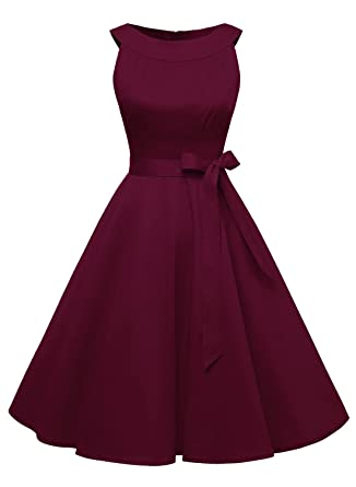 Timormode Sommerkleider 50er Retro Damen Rockabilly Kurz Vintage Kleid  Ärmellos Swing Kleid Ballkleid  Amazon.de  Bekleidung 82e7eadf0b