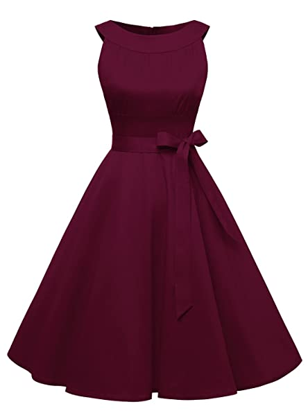 Timormode Vestido Corto De Fiesta Vintage Color Sólido Sencillo Y Elegante Rockabilly Mujer Borgoña XS
