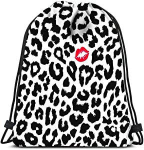 Drawstring Backpack Leopard Texture With Kiss Print Laundry Bag Gym Yoga Bag