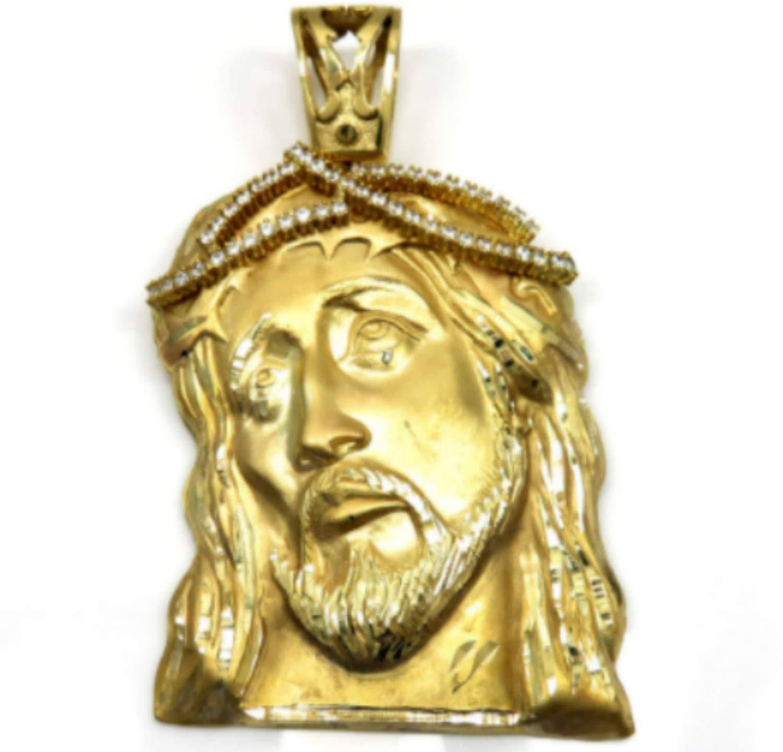 14K Yellow Gold Classic Jesus Face Pendant
