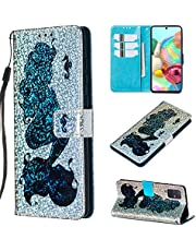 Cfrau Sequins Wallet Case for Samsung Galaxy A71,Fashion 3D Bling Glitters Blue Mermaid Print Magnetic PU Leather Flip Folio Stand Soft TPU Strap Case with Black Stylus
