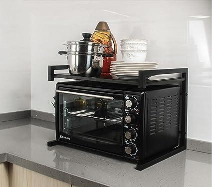 YANZIFEI Multifunción cocina 2 capas Pintar, Telescópica izquierda y derecha Bandeja de almacenamiento, Horno