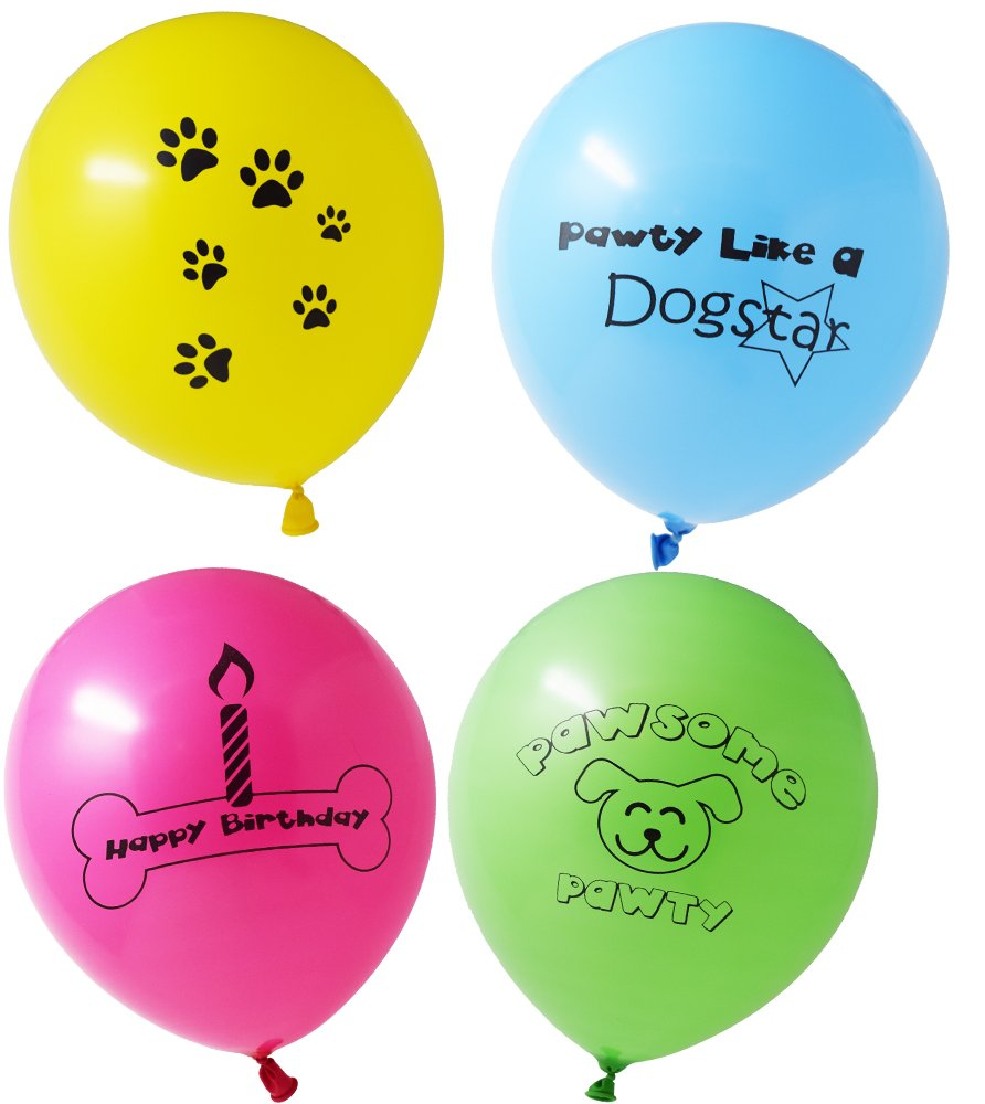 Partybrations Pawsome Puppy Themed Birthday Party Decorations Colorful Latex Balloons