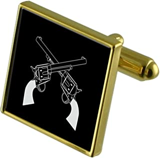 Select Gifts Revolver pistola Gold-tone gemelli in una custodia
