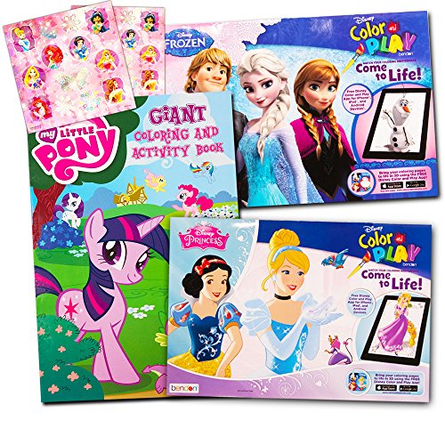 Disney MLP Coloring Book Super Set for Girls -- 3 Giant Coloring Books Featuring Disney Princess, Frozen and My Little Pony (Includes Disney Princess Stickers) (Frozen Coloring)