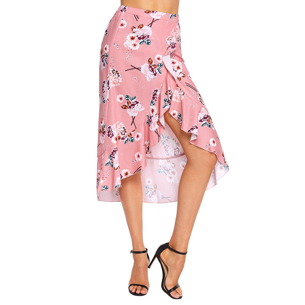 Lrud Women's Floral Print High Waist Wrap Slim High Low Ruffle Mermaid Midi Skirt Pink-S