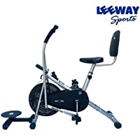 Leeway Air Bike Exercise Cycle| Moving Handle Gym Bike| Crossfit Fitness| Cardio Work Out| Stamina 2001 Bike| Dual Action Airbike with Back Rest and Twister-Silver