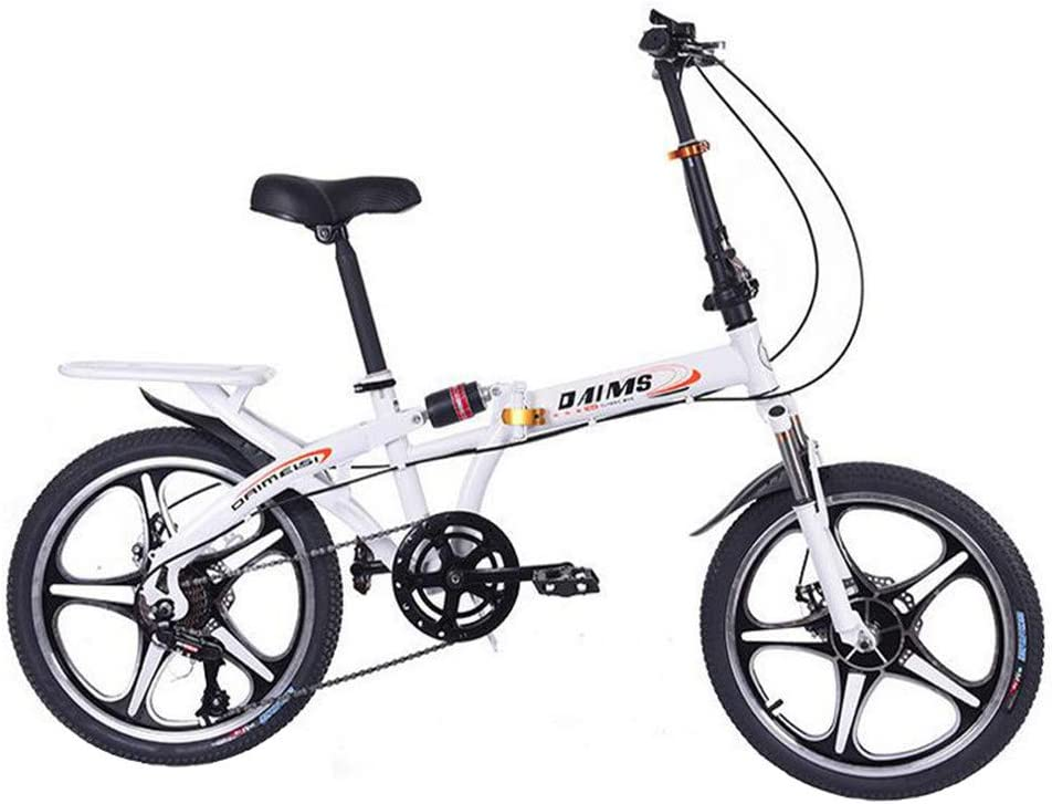 20 Inch Folding Bike for Adult Men and Women Teens Mini Lightweight Foldable Bicycle for Student Office Worker Urban Environment High Tensile Aluminum Folding Frame with V Brake Rear Rack
