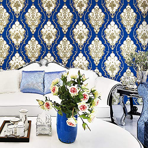 "JZ25 Blue/Silver Damask Wallpaper Rolls, Metal Lace Texture Embossed Vinyl Wallpaper Bedroom Living Room Hotel Wall Decoration 20.8""x 31ft"