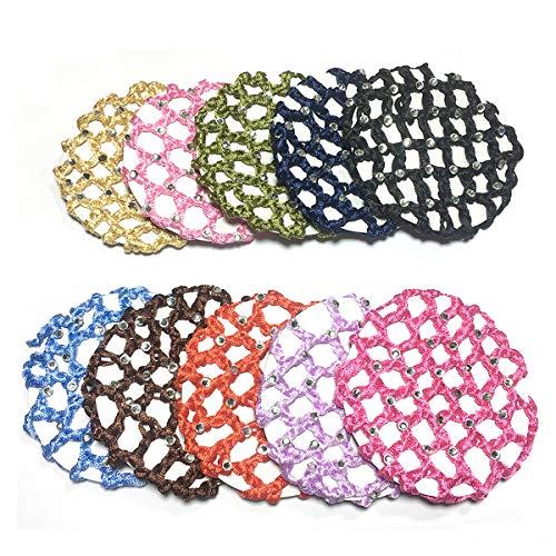 10 Pcs Women Ladies Girl Rhinestone Bun Cover Crochet Snood Hair Net For Ballet  Dance Skating 42b752746ec8