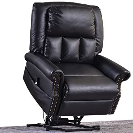 Fabulous Electric Lift Chair Recliner Faux Leather Julyofx 330 Lb Heavy Duty Infinite Position Lift Recliner Sofa Chair Lifts You Up W 2 Button Remote Stand Frankydiablos Diy Chair Ideas Frankydiabloscom