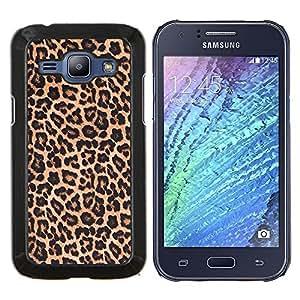 KLONGSHOP // Cubierta de piel con cierre a presión Shell trasero duro de goma Protección Caso - patrón de leopardo piel marrón de oro - Samsung Galaxy J1 J100 //