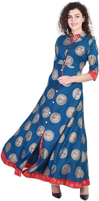 VIHAAN IMPEX Red Straight A-line Rayon Kurti Top Tunic Modern Elegant Ethnic NEW