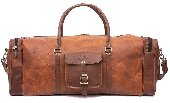 b0b1333f78fd Amazon.com  Leather Native Duffel Bag Large 28 inch Travel Bag Gym Sports  Overnight Weekender Bag Summer Sale  Handmade