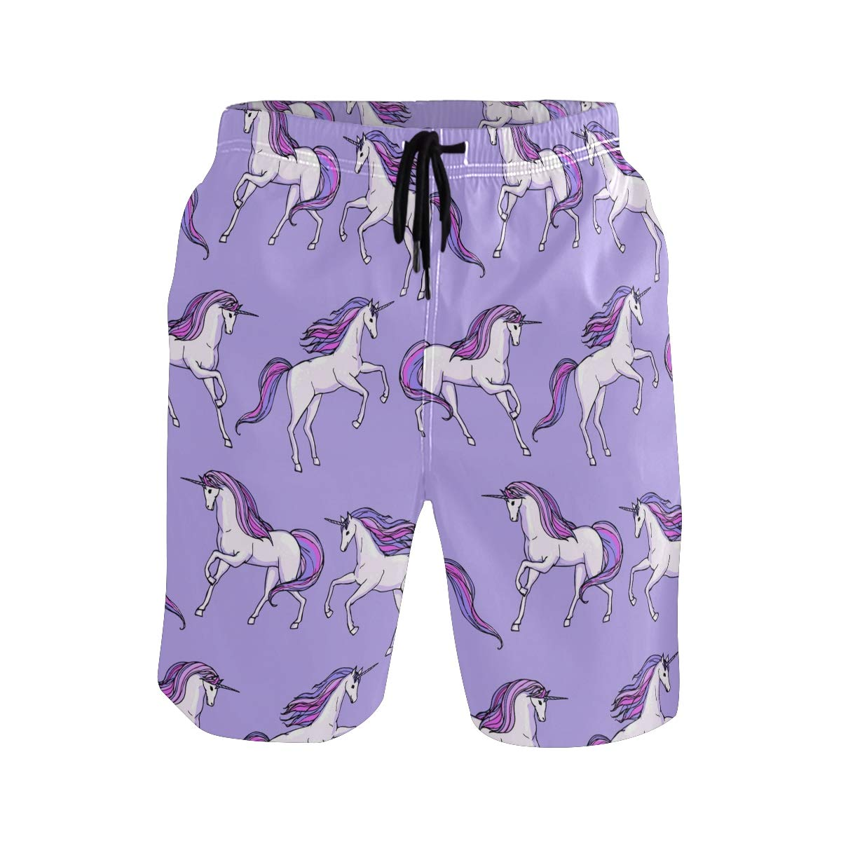 Mens Beach Swim Trunks Unicorn Horse Running Purple Boxer Swimsuit Underwear Board Shorts with Pocket