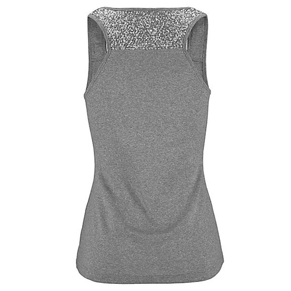 Women Tank Tops Sleeveless Solid Shirt Sequin Splice Plus Size Casual Vest Tunic Tops Blouse (L, Gray) by Yihaojia Women Blouse (Image #5)