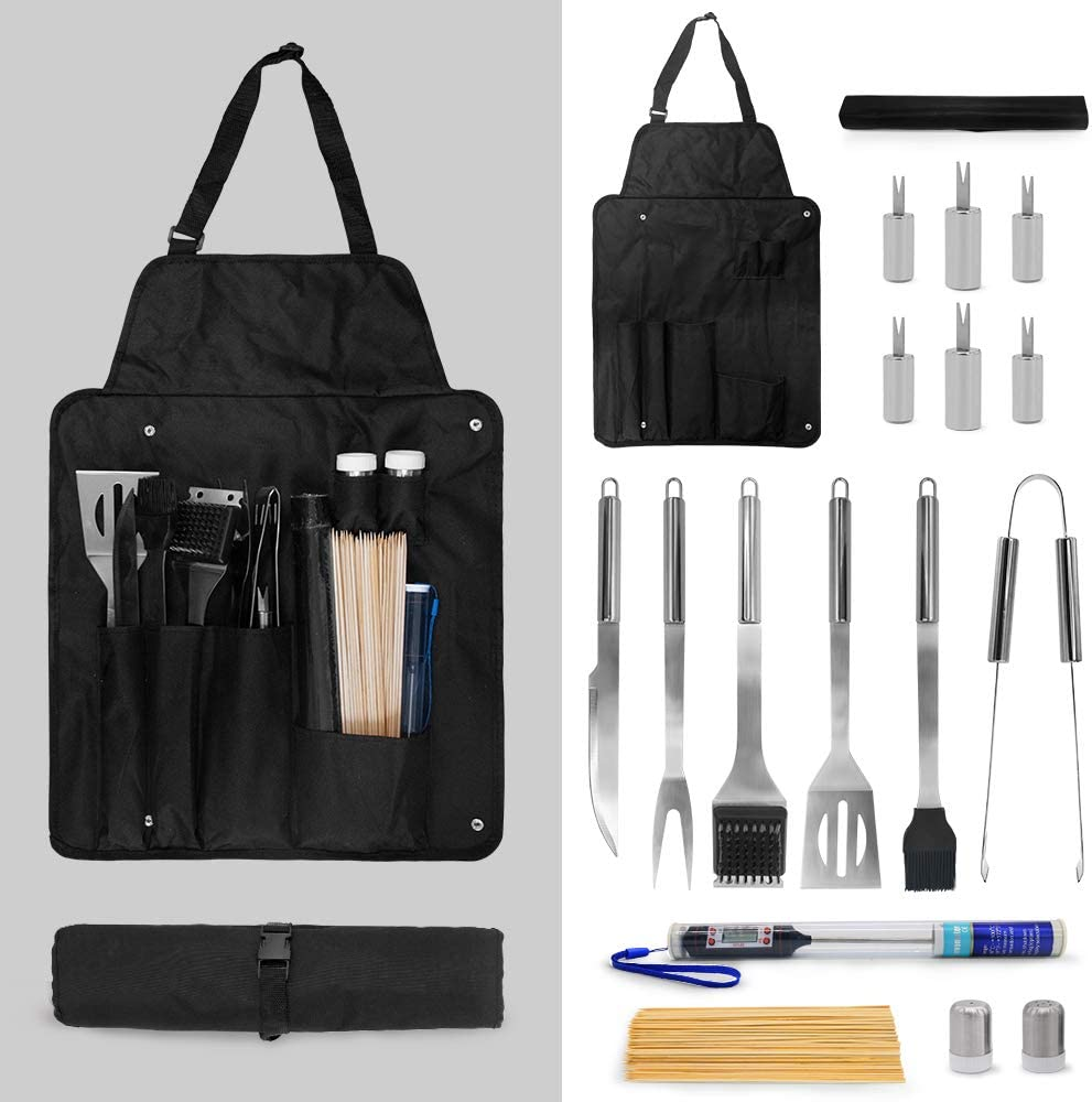 Grilling Accessories BBQ Tools Set with Thermometer 18PCS Stainless Steel Grilling Kit for Smoker, Camping, Kitchen, Complete Barbecue Accessories Kit with Portable Bag Perfect Grilling Tool Set Gift : Garden & Outdoor