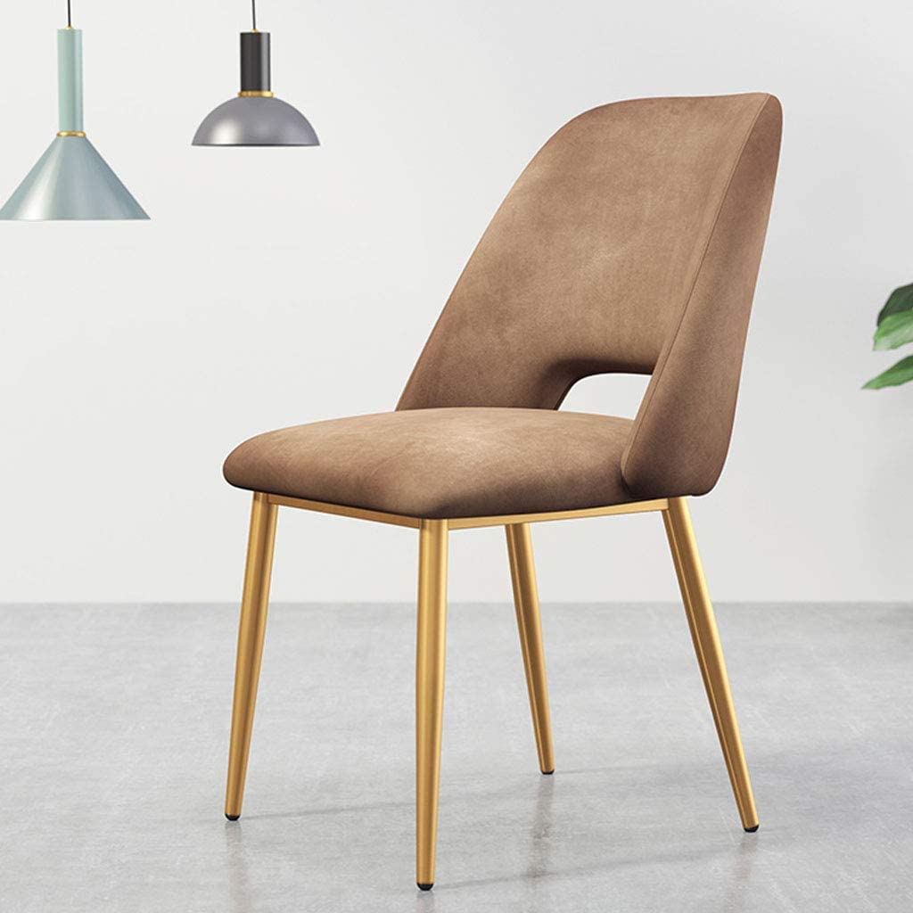 HTL Desk Chairs Dining Chairs Ergonomic Padded Seat, Kitchen Side Chairs with Back, Accent Club Guest Chairs, Metal Frame + Velvet,Light Brown,Gold Legs