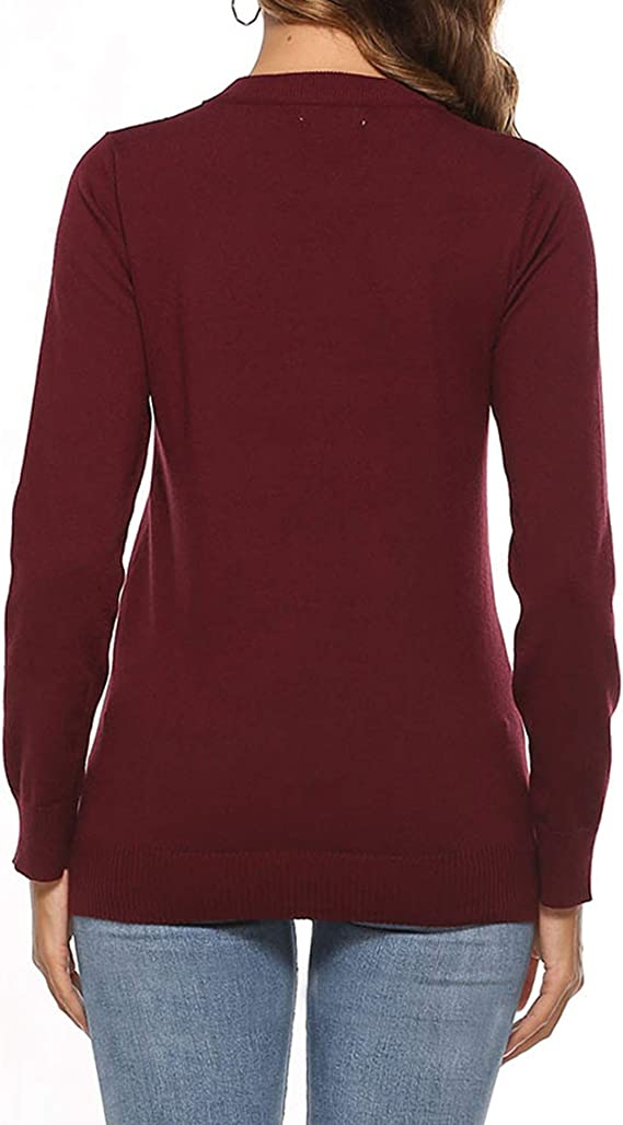 YAWOVE Womens Pullover Sweater Christmas Ugly Crewneck Cotton Blending Tech Sweater S-XXL