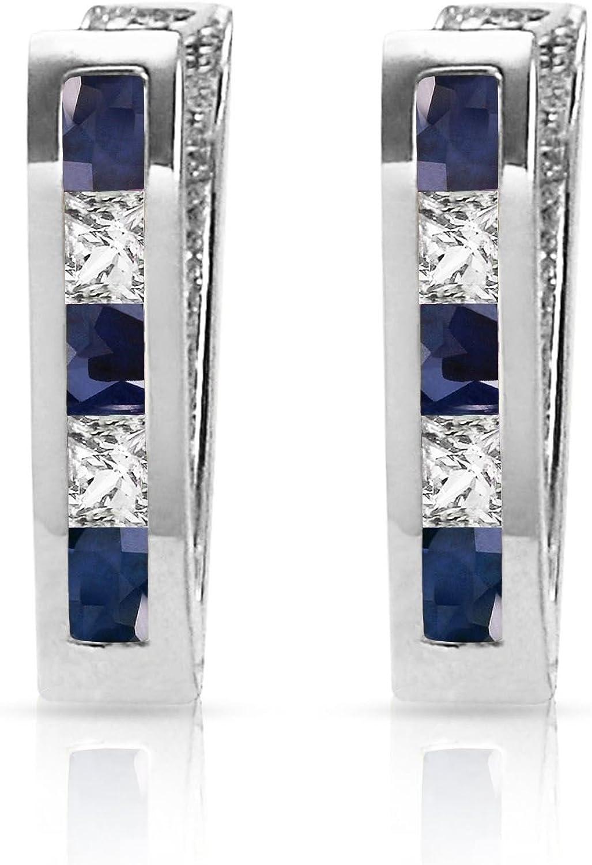 ALARRI 1.26 Carat 14K Solid White Gold Best You Sapphire White Topaz Earrings