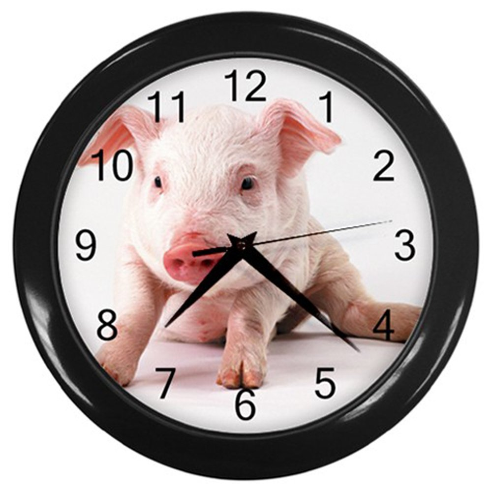 Baby Pig Black Frame Novelty Animal Wall Clock by Unknown