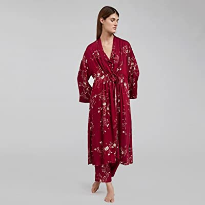 ZLR Pyjamas d'impression de fleurs orientales Home Nightgown Dames de peignoirs à manches longues