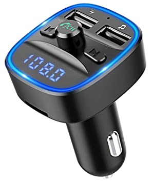 Bovon Transmisor FM Bluetooth Coche Manos Libres, Bluetooth para Coche, Cargador de Coche con
